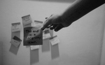 рука, слова, текст, чёрно, белое, записка, стикер
