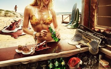 girl, beach, summer, heat, booze, hot summer, the heat on the beach, the girl opens a bottle of drink, all melts