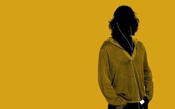 желтый, стиль, парень, наушники, минимализм