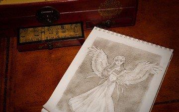 рисунок, крылья, ангел, блокнот, шкатулка