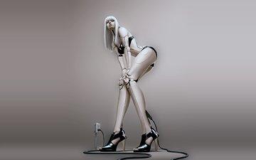 девушка, робот, киборг