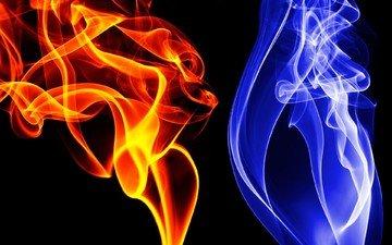 синий, цвет, дым, красный