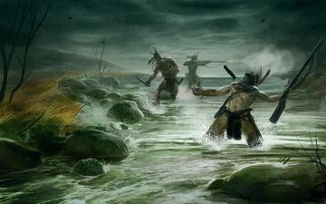 борьба, индейцы, empire total war, речка, тропа войны кампания