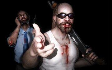 свет, оружие, кровь, очки, жест, kane and lynch