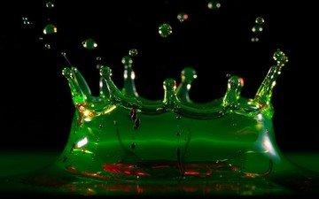 вода, зелёный, капли