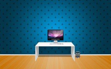 обои, стол, стены, компьютер, комната apple