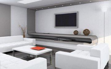 стиль, телевизор, стол, комната, кресло, диван