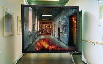 монитор, коридор, экран