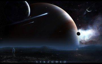 планеты, космонавт, астероид