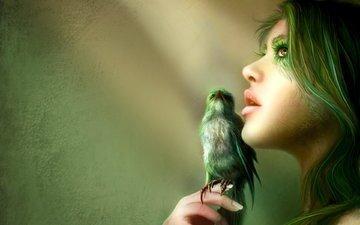 птица, волосы, губы, лицо, nell fallcard - green wisper
