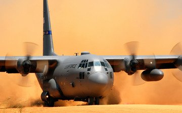 самолет, lockheed c-130 hercules, пыль, посадка