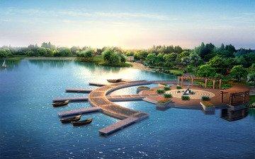 озеро, лодки, памятник