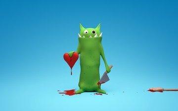 кровь, сердце, любовь, нож, 3д