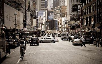 мегаполис, движение, толпа, реклама, перекресток, обыденность
