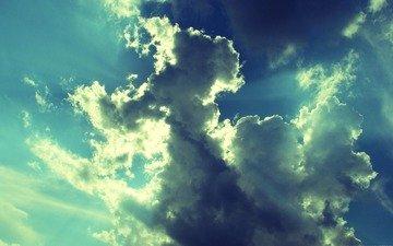 небо, облака, фото, лучи, обработка, картинка, лёгкость, невесомость