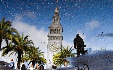 отражение, башня, лужа