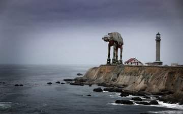 маяк, робот, побережье, волнолом