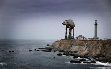 lighthouse, robot, coast, breakwater