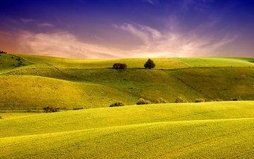 небо, трава, холмы, природа, обои, пейзаж, поля, поле