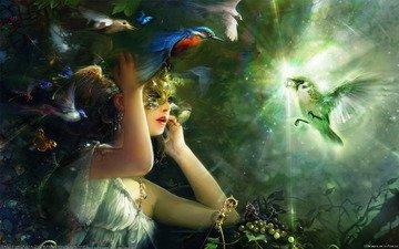 свет, девушка, маска, птицы, бриллиант, bing xiao
