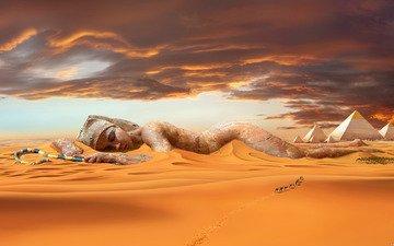 песок, пустыня, статуя, дюны, караван, верблюды, пирамиды