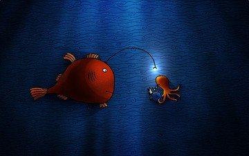 рисунок, рыба, огонек