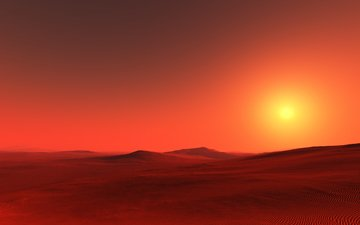 солнце, природа, закат, пейзаж, горизонт, пустыня, сумерки, сахара, sahara