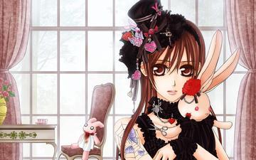 девушка, розы, игрушки, кролики, vampire knight
