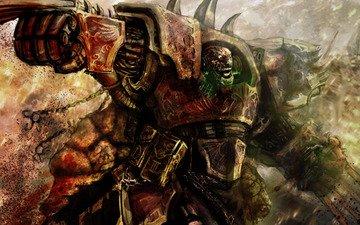 кровь, когти, warhammer 40k, доспехи, хаос, дети императора, терминатора