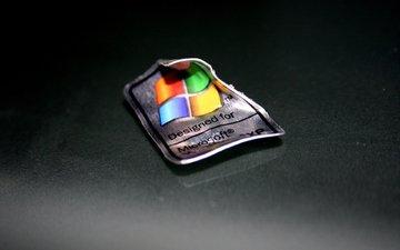 дизайн, стол, белый, логотип, железо, медальйон, виндовс, майкрософт, винда