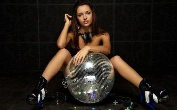 girl, brunette, headphones, disco ball