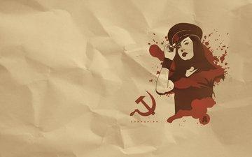 девушка, серп, молот, коммунизм, фуражка