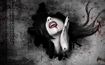 девушка, кровь, стена, лицо, вампир
