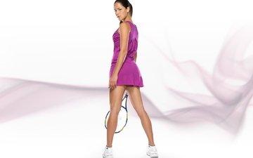 girl, look, feet, tennis, racket