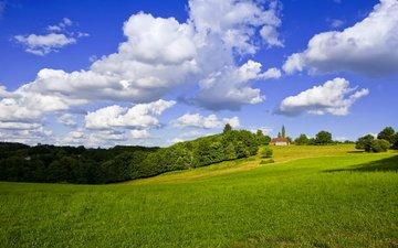 трава, обои для рабочего стола, пейзаж, поле, дом