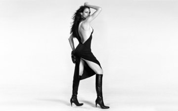 girl, dress, boots, the cut, famke janssen
