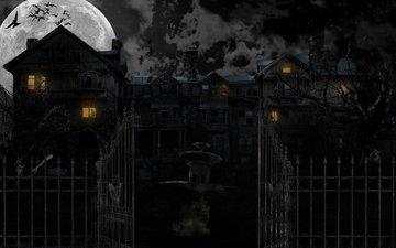 night, the moon, house, fear, horror, horor