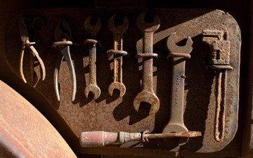 инструменты, ржавчина, ключи