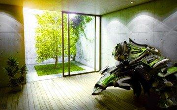 свет, зелень, комната