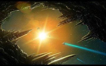 солнце, станция, корабль, космическая, астероид