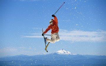 небо, прыжок, лыжи, фристайл