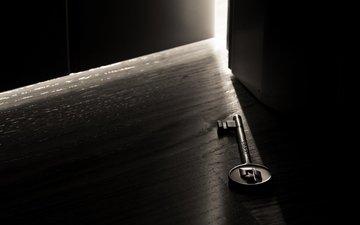 свет, макро фото, дверь, ключ, комната, темнота, goodfon free wallpapers
