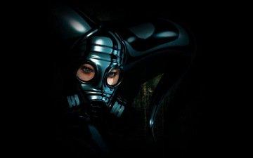 девушка, маска, шлем, противогаз