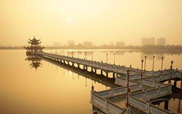 вода, закат, мост