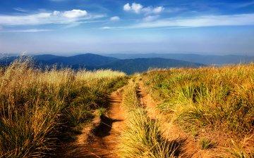 небо, трава, горы, холмы, природа, пейзаж, пейзажи, slopes, автодорога