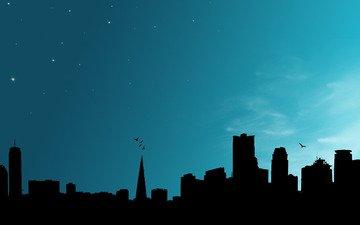 небо, ночь, небоскребы