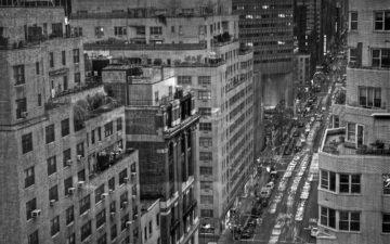 черно-белая, дождь, нью - йорк