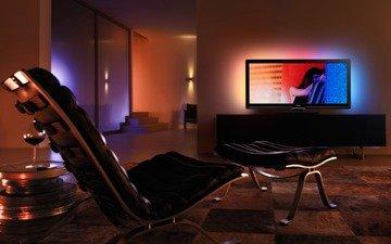 вечер, настроение, телевизор, комната, романтика, разное, ностальгия, тусклый свет