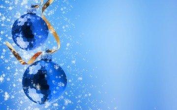 новый год, шары, снежинки