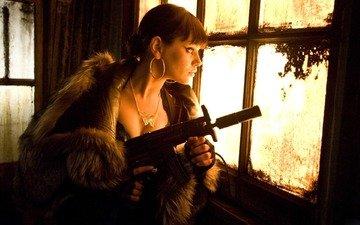 girl, weapons, sniper, window, machine